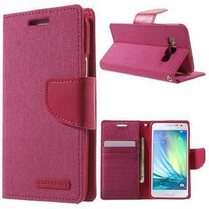 Luxury textilní/koženkové pouzdro na Samsung Galaxy A3 - rose - 1
