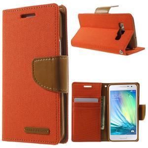 Luxury textilní/koženkové pouzdro na Samsung Galaxy A3 - oranžové - 1