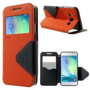 Roar peněženkové pouzdro s okýnkem na Samsung Galaxy A3 - oranžové - 1