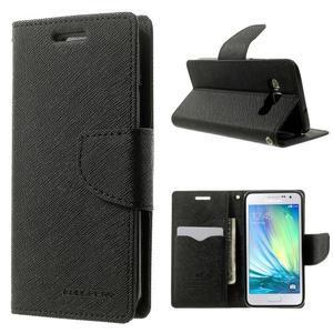 Diary PU kožené pouzdro na Samsung Galaxy A3 - černé - 1