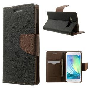 Diary PU kožené pouzdro na Samsung Galaxy A3 - černé/hnědé - 1