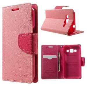 Fancy PU kožené pouzdro na Samsung Galaxy Core Prime - růžové - 1
