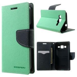 Fancy PU kožené pouzdro na Samsung Galaxy Core Prime - azurové - 1