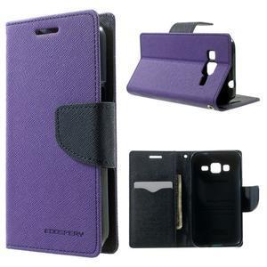 Fancy PU kožené pouzdro na Samsung Galaxy Core Prime - fialové - 1