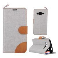 Jeans textilní/koženkové pouzdro na Samsung Galaxy Core Prime - šedé - 1/4