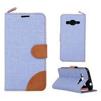Jeans textilní/koženkové pouzdro na Samsung Galaxy Core Prime - světle modré - 1/4