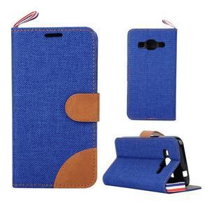 Jeans textilní/koženkové pouzdro na Samsung Galaxy Core Prime - modré - 1
