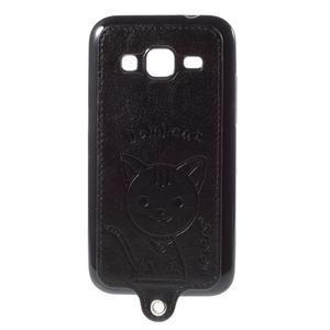 Kočička Domi kryt s koženkovými zády na Samsung Galaxy Core Prime - černý - 1