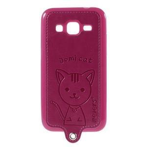 Kočička Domi kryt s koženkovými zády na Samsung Galaxy Core Prime - rose - 1