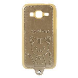 Kočička Domi kryt s koženkovými zády na Samsung Galaxy Core Prime - zlatý - 1