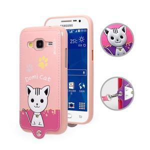 Kočička Domi obal na mobil Samsung Galaxy Core Prime - růžový - 1