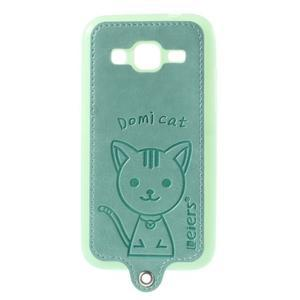 Kočička Domi kryt s koženkovými zády na Samsung Galaxy Core Prime - azurový - 1