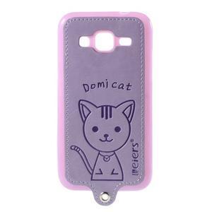 Kočička Domi kryt s koženkovými zády na Samsung Galaxy Core Prime - fialový - 1