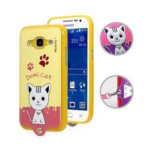 Kočička Domi obal na mobil Samsung Galaxy Core Prime - žlutý - 1