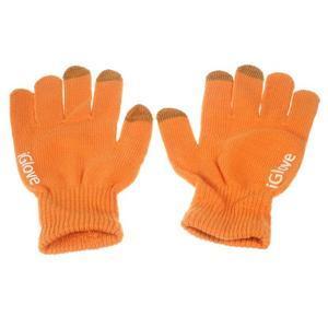 Gloves dotykové rukavice na mobil - oranžové - 1