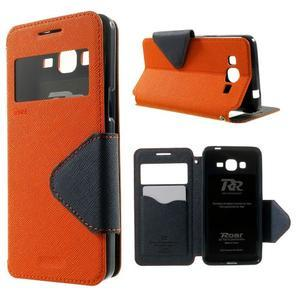 Safety pouzdro s okýnkem pro Samsung Galaxy Grand Prime - oranžové - 1