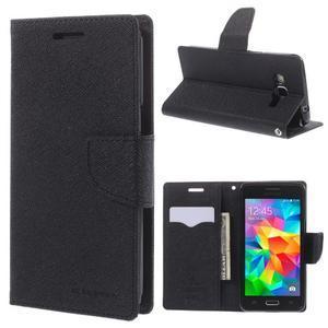 Diary PU kožené pouzdro na mobil Samsung Galaxy Grand Prime - černé - 1