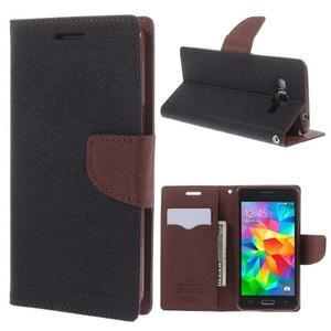 Diary PU kožené pouzdro na mobil Samsung Galaxy Grand Prime - čené/hnědé - 1