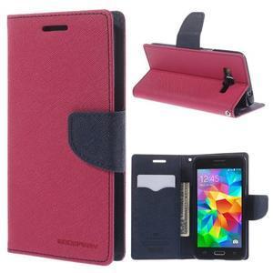 Diary PU kožené pouzdro na mobil Samsung Galaxy Grand Prime - rose - 1