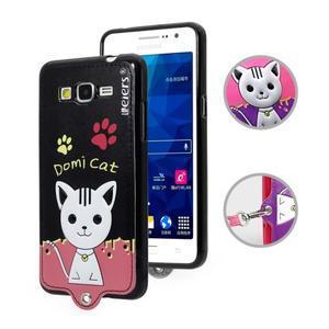 Kočička Domi s PU koženými zády na Samsung Galaxy Grand Prime - černý - 1