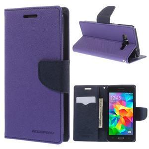 Diary PU kožené pouzdro na mobil Samsung Galaxy Grand Prime - fialové - 1