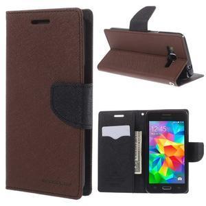 Diary PU kožené pouzdro na mobil Samsung Galaxy Grand Prime - hnědé - 1