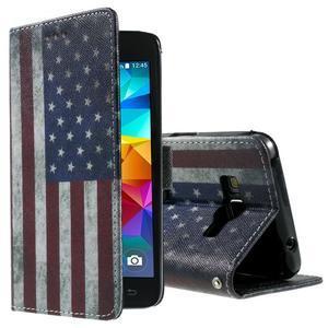 Wallet PU kožené pouzdro na mobil Samsung Galaxy Grand Prime - US vlajka - 1