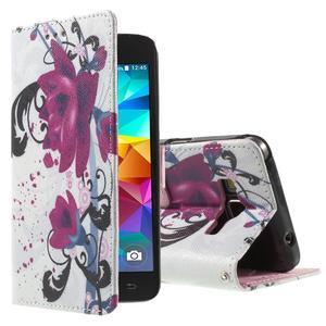Wallet PU kožené pouzdro na mobil Samsung Galaxy Grand Prime - květy - 1