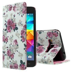 Wallet PU kožené pouzdro na mobil Samsung Galaxy Grand Prime - květiny - 1