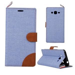 Jeans koženkové/textilní pouzdro pro Samsung Galaxy Grand Prime - světlemodré - 1