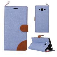 Jeans koženkové/textilní pouzdro pro Samsung Galaxy Grand Prime - světlemodré - 1/5