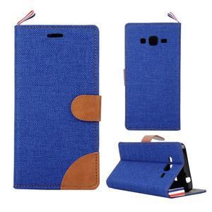 Jeans koženkové/textilní pouzdro pro Samsung Galaxy Grand Prime - modré - 1