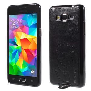 Kočička Domi kryt s PU koženými zády pro Samsung Galaxy Grand Prime - černý - 1