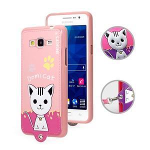 Kočička Domi s PU koženými zády na Samsung Galaxy Grand Prime - růžový - 1