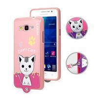 Kočička Domi s PU koženými zády na Samsung Galaxy Grand Prime - růžový - 1/2