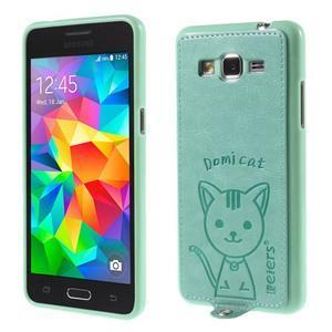 Kočička Domi kryt s PU koženými zády pro Samsung Galaxy Grand Prime - cyan - 1