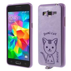 Kočička Domi kryt s PU koženými zády pro Samsung Galaxy Grand Prime - fialový - 1