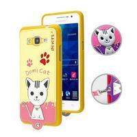 Kočička Domi s PU koženými zády na Samsung Galaxy Grand Prime - žlutý - 1/2