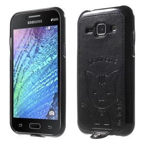 Obal s koženkovými zády a kočičkou Domi pro Samsung Galaxy J1 - černý - 1