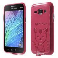 Obal s koženkovými zády a kočičkou Domi pro Samsung Galaxy J1 - magneta - 1/5