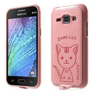 Obal s koženkovými zády a kočičkou Domi pro Samsung Galaxy J1 - růžový - 1