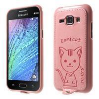 Obal s koženkovými zády a kočičkou Domi pro Samsung Galaxy J1 - růžový - 1/7