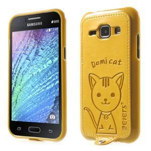 Obal s koženkovými zády a kočičkou Domi pro Samsung Galaxy J1 - žlutý - 1