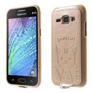 Obal s koženkovými zády a kočičkou Domi pro Samsung Galaxy J1 - zlatý - 1