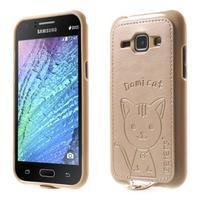 Obal s koženkovými zády a kočičkou Domi pro Samsung Galaxy J1 - zlatý - 1/7
