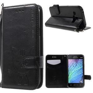Koženkové pouzdro s kočičkou Domi na Samsung Galaxy J1 - černé - 1