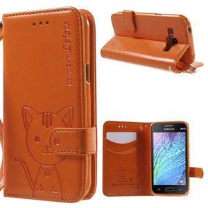 Koženkové pouzdro s kočičkou Domi na Samsung Galaxy J1 - oranžové - 1