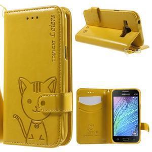 Koženkové pouzdro s kočičkou Domi na Samsung Galaxy J1 - žluté - 1