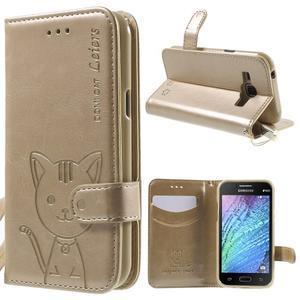 Koženkové pouzdro s kočičkou Domi na Samsung Galaxy J1 - zlaté - 1