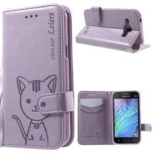 Koženkové pouzdro s kočičkou Domi na Samsung Galaxy J1 - fialové - 1